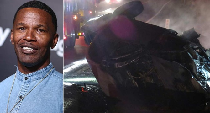Jamie Foxx rescata a un conductor accidentado