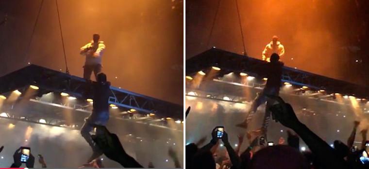 Fan de Kanye West intenta subir al escenario y acaba así: