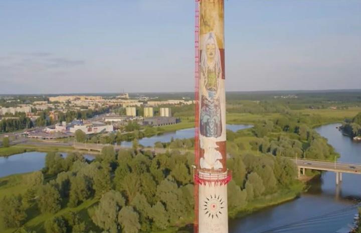 Hacen un graffiti en una torre de 100 metros utilizando robots