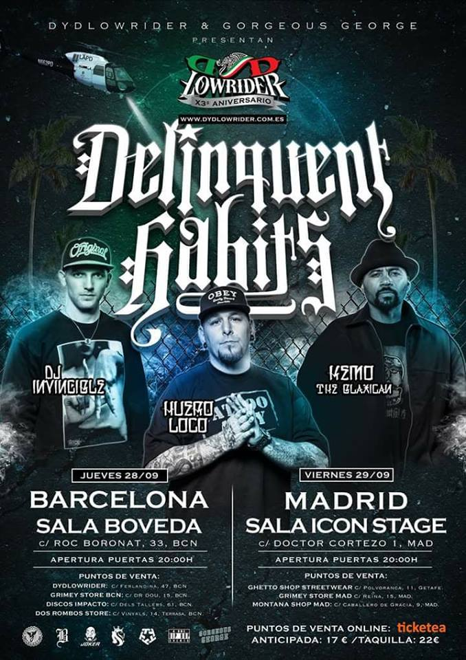 Delinquent Habits, Jueves 28 de septiembre en Barcelona [Sala Bóveda]