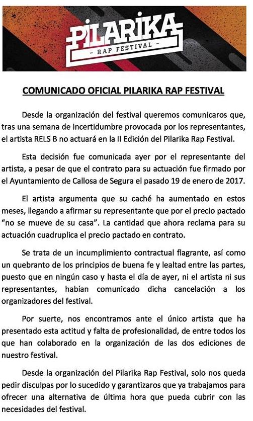 Rels B no actuará en el Pilarika Rap Festival por exigir más dinero